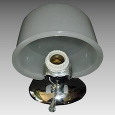 Art Deco Machine Age Chrome Wall Light with Camphor Glass Shade