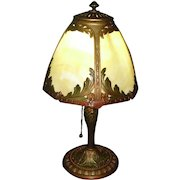 Miller Bent Panel Slag Glass Boudoir Table Lamp