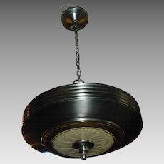 Art Deco Machine Age 2 Light Pendant - original antique nickel finish