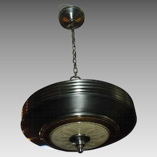 Art Deco Machine Age 2 Light Pendant - original antique nickel finish