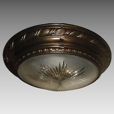 Decorated Brass with Frosted Cut Glass Transitional Period Ceiling or Wall Light Fixture