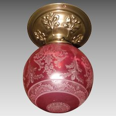 Deep Etched Ruby Glass Ball Shade in Decorated Brass Ceiling Light fixture