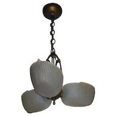 Art Deco Machine Age 3 Light Slip Shade Pendant