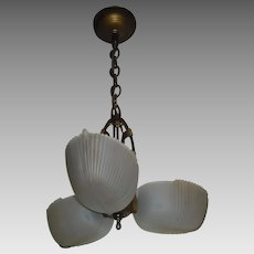 Art Deco Machine Age 3 Light Slip Shade Pendant