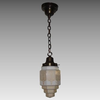 Art Deco Pendant Light with Stylized Step Shade