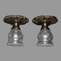 Pair - Art Deco Ceiling Lights - Iridescent Acid Etched Shades in Stylized Brass Fixtures