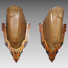 Markel Art Deco Sconces - Iron with Polychrome Finish and Amber Iridescent Slip Shades