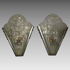 Art Deco Slip Shade Sconces - signed Gilles, Paris