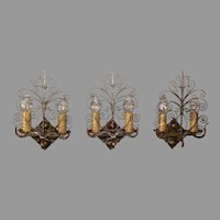 Set of 3 Spanish Revival Sconces - Iron with Polychrome Finish