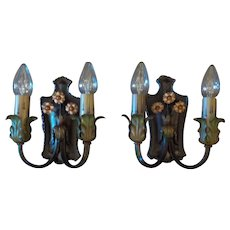 Spanish Revival Brass and Iron Wall Sconces - Original Finish