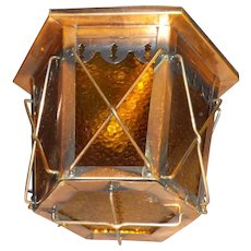 Arts and Crafts Copper and Black Ceiling Light Fixture - 2 available