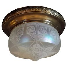Art Nouveau 2 Light Ceiling Fixture - Decorated Brass with Iridescent Acid Etched Glass Shade