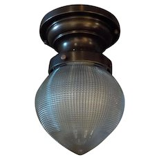 Ceiling Light with Cast Bronze Fixture and Holophane Glass Shade -- 3 available