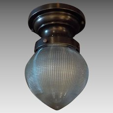 Ceiling Light with Cast Bronze Fixture and Holophane Glass Shade -- 2 available
