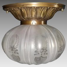 Ceiling Light with Frosted and Etched Glass Shade in Decorated Brass Fixture
