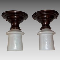 Pair of Steuben Deep Etched Calcite Glass Shades in Beardsley Heavy Copper Fixtures