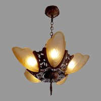 Markel Art Deco 5 Light Slip Shade Chandelier - 2 available