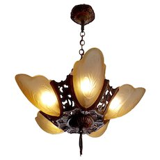 Markel Art Deco 5 Light Slip Shade Chandelier - 2 available