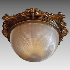 Holophane Glass Dome Shade in Hinged Cast Brass 2 Light Ceiling Fixture