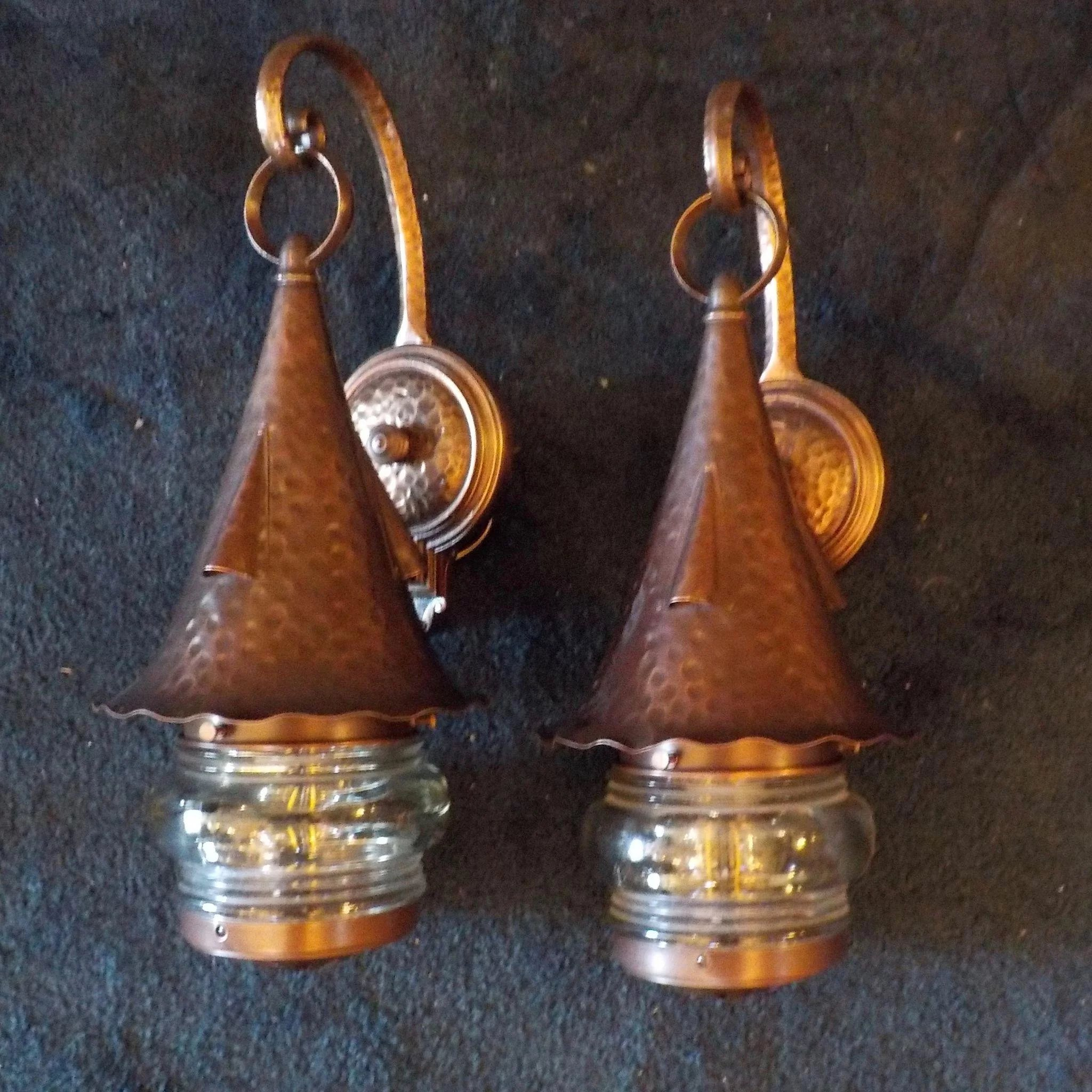 Lightolier Copper And Cast Bronze Porch Lights With Magnifying Lenses Sherlocks Antique
