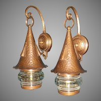 Lightolier Copper and Cast Bronze Porch Lights with Magnifying Lenses