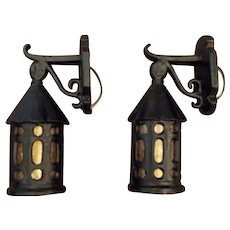 Bungalow Porch Wall Lights - Cast Iron with Mica Cylinders