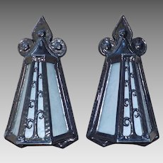 Tudor Porch Lights - Cast Iron with Frosted Glue Chip Glass Panels
