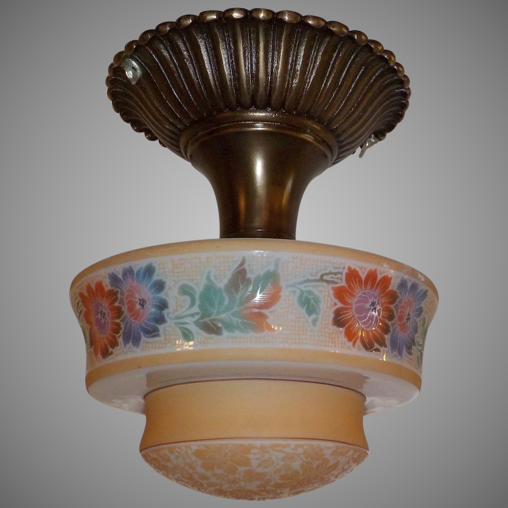 separation shoes bdde5 8dd02 Bellova Flush Mount Ceiling Light - Colored, Acid Etched Glass Shade in  Cast Brass Fixture