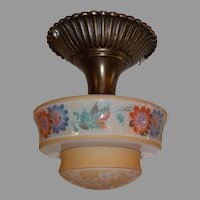 Bellova Flush Mount Ceiling Light - Colored, Acid Etched Glass Shade in Cast Brass Fixture
