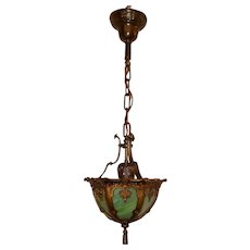Victorian Bent Panel Slag Glass Pendant Light