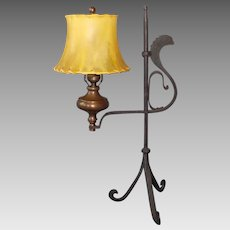 Wrought Iron and Brass Adjustable Table Lamp with Skin Shade