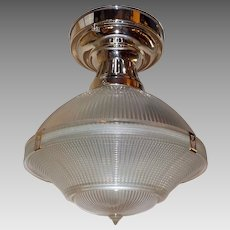 "Holophane 10"" Three Piece Clip Shade in Polished Nickel Fixture"