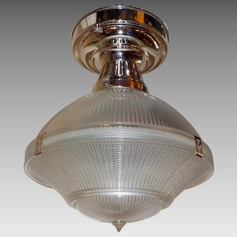"""Holophane 10"""" Three Piece Clip Shade in Polished Nickel Fixture"""