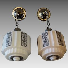 Pair - Art Deco Machine Age Pendant Lights with Decorated Shades in Nickel Plated Fixtures