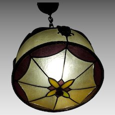 Tudor Leaded Dimpled Glass with Jewels Pendant Light Fixture