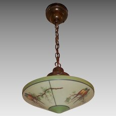 Pendant Light with Decorated Parrot Glass Shade in Brass Fixture