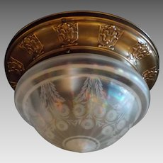 2 Light Brass Ceiling Fixture with Iridescent Acid-Etched Glass Dome Shade