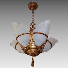 Art Deco 5 Light Slip Shade Chandelier with Polychrome Finish - 2 available