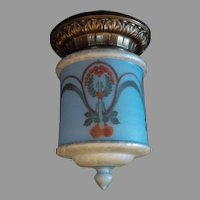 Bellova Colored Acid Etched Shade in Cast Brass Caldwell Ceiling Light