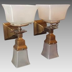 Arts and Crafts - Mission Style - Gas Electric Wall Lights - Brass with Frosted Glass Shades