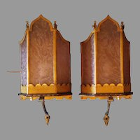 Theater Paneled Wall Lights  with Lavender Glue Chip Glass