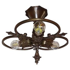 Cast Brass 3 Light Flush Mount Ceiling Fixture