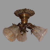 Victorian 3 Light Ceiling Fixture - Fancy Cast Brass with Cut, Deep Etched Glass Shades