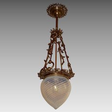 Victorian Pendant Light - Opalescent Swirl Glass Shade in Fancy Cast Brass Fixture