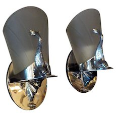 Art Deco Machine Age Chrome Dolphin Sconces with Frosted Slip Shades - Chase
