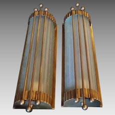 Art Deco Machine Age Large Wall Sconces