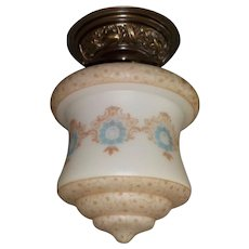Large Bellova Acid Etched and Colored Glass Shade on Decorated Brass Ceiling Fixture