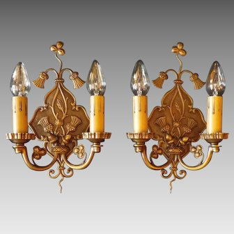 Tudor Cast Brass Double Candle Sconces with Thistles / Acorns