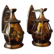 Tudor Cast Bronze Porch Lights with Amber Glass Lantern Shades