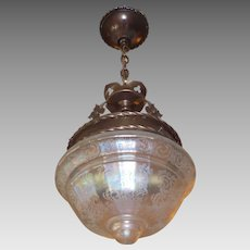 Tudor Brass Pendant Light with Iridescent Acid Etched Glass Shade